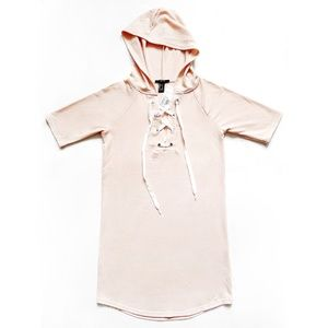 NWT F21 Lace Up Neck Hooded Dress Pink S